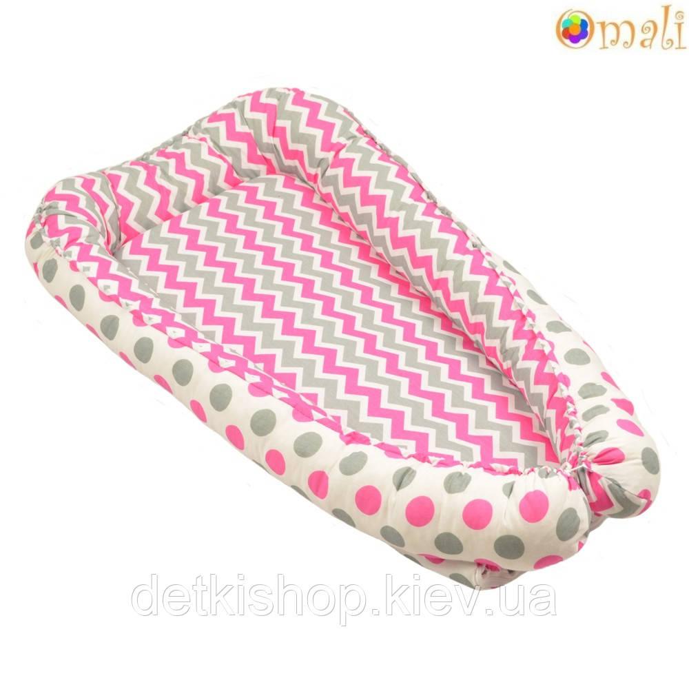 Гнездо для новорожденных ТМ «Omali» розовый зигзаг и горошек