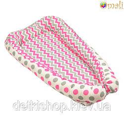 Гніздо для немовлят ТМ «Omali» рожевий зигзаг і горошок