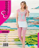 Турецкая хлопковая пижама капри и туника для дома и отдыха