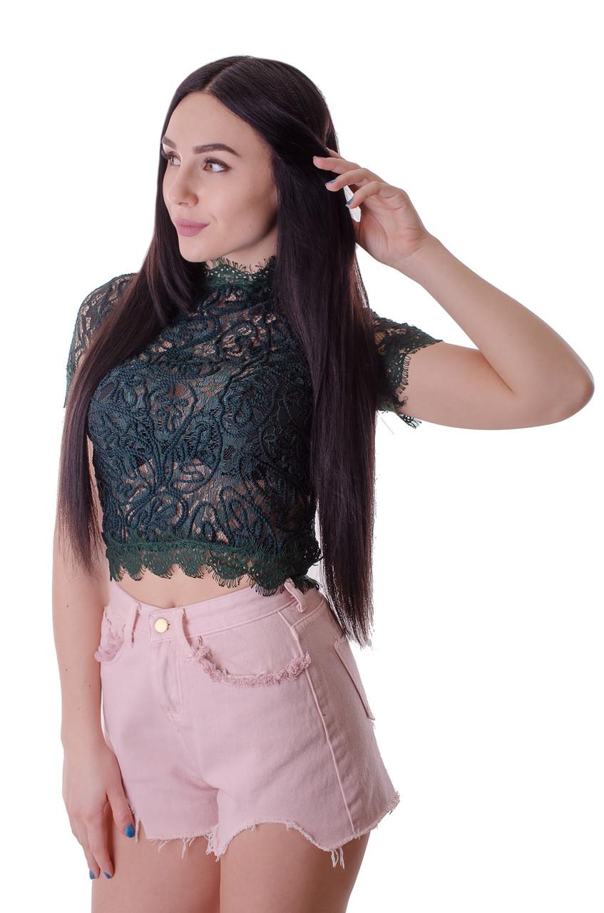 Гипюровая блузка с молнией зеленого цвета