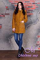 Женское пальто цвета горчица с капюшоном (р. S, M, L) арт. Скай крупное букле 9042