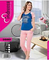 Турецкая хлопковая пижама капри и футболка для дома иотдыха