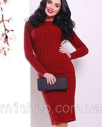 Женский вязаный костюм джемпер и юбка (136 mrs), фото 2
