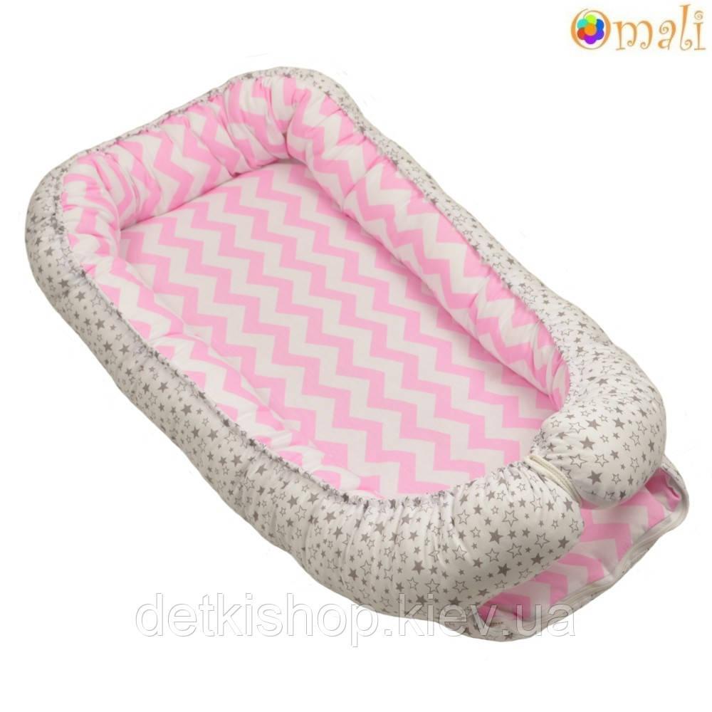 Гнездо для новорожденных ТМ «Omali» розовый зигзаг и звёзды