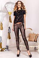 Стильные женские леггинсы Один коричневый металлик  Jadone  42-50  размеры