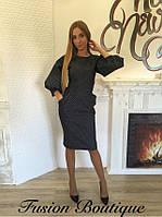 Стильное темно-синее платье в горох из тонкого Турецкого джинса.  Арт-9887/83