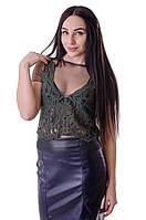 Женская гипюровая блузка  зеленого  цвета