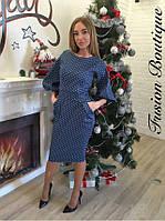 Синее джинсовое платье в мелкий горошек, с карманами.  Арт-9889/83