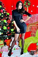 Короткое платье с кожаными вставками черное розовое синее, фото 1
