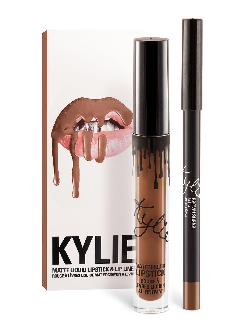 Матовая помада в стиле Kylie с карандашом -  Brown Sugar