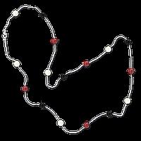Ожерелье белый металлик с цветными бусинами 88 сm