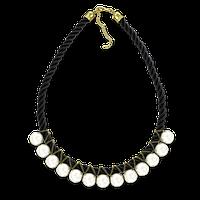 Ожерелье из белого жемчуга на чёрной нити 45 cm