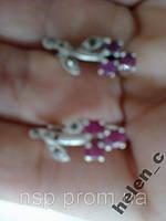 Серьги серебро 925 проба с рубинами Египет