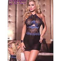 Платье черное с синим кружевом #1216