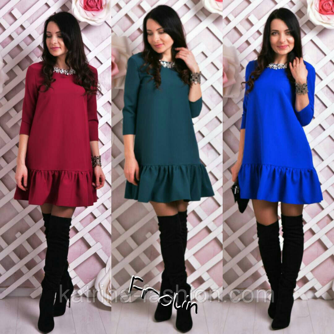 Женское стильное платье-трапеция (6 цветов)