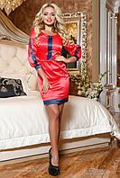 Женское нарядное атласное платье красное + большой размер