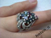 Кольцо серебро 925 проба натуральные камни рубины изумруды сапфиры