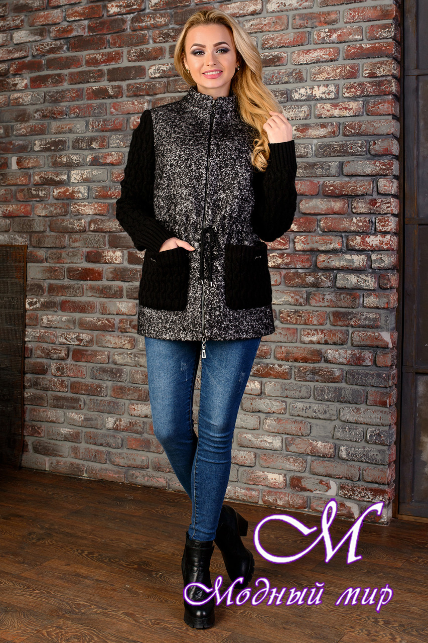 Короткое женское черно-серое пальто  (р. S, M, L) арт. Старк крупное букле 9048