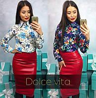 Женская блузка рубашка с крупными цветами