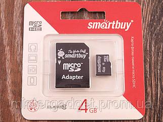 Карта памяти MicroSD SmartBuy 4Gb, Класс 10 Карта на 4Гб