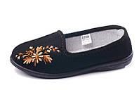 Туфли черные домашние женские Трикотаж с вышивкой Литма