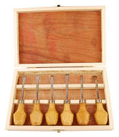 Подарунковий набір різців по дереву, 6 шт в дерев'яному пеналі