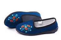 Туфли синие домашние женские Трикотаж с вышивкой Литма