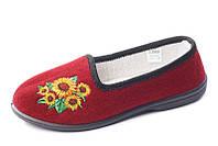 Туфли красные домашние женские Трикотаж с вышивкой Литма