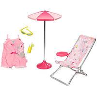 Игровой набор Шезлонг, зонт и одежда для куклы Солнечные ванны Baby Born Zapf Creation 822395