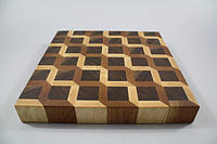 Кухонная торцевая разделочная доска 3D 35х35х3,5 см 0401