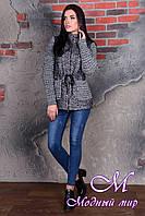 Короткое женское темно-серое пальто (р. S, M, L) арт. Старк крупное букле 9050