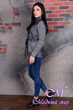 Короткое женское темно-серое пальто (р. S, M, L) арт. Старк крупное букле 9050, фото 2
