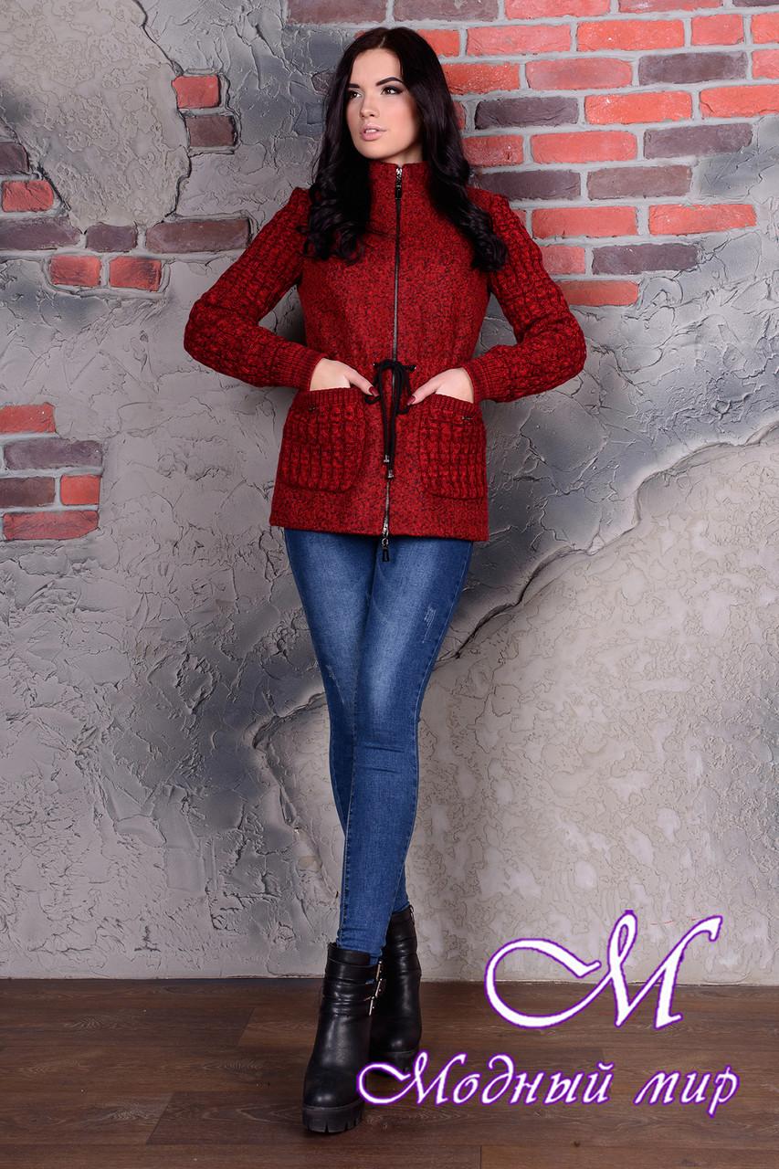 Коротке червоне пальто жіноче (р. S, M, L) арт. Старк велике букле 9051