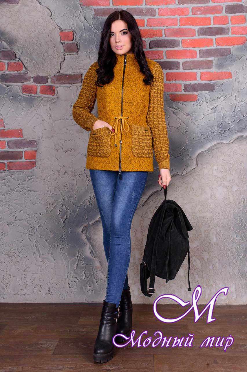 Короткое женское пальто цвета горчица  (р. S, M, L) арт. Старк крупное букле 9052