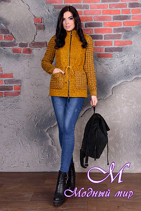 Короткое женское пальто цвета горчица  (р. S, M, L) арт. Старк крупное букле 9052, фото 2