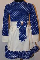 Детское платье морского цвета с белым манжетом возраст от 2 до 4 лет