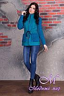 Короткое женское пальто цвета бирюза  (р. S, M, L) арт. Старк крупное букле 9053