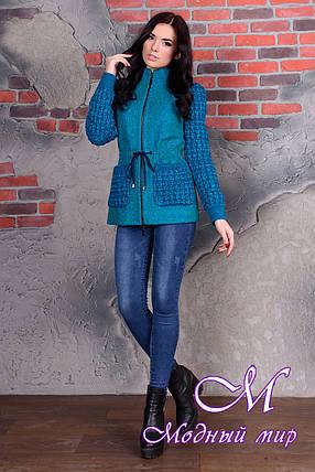 Короткое женское пальто цвета бирюза  (р. S, M, L) арт. Старк крупное букле 9053, фото 2