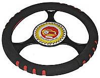 Оплетка руля кожзам S Vitol 14023 черный/ красный