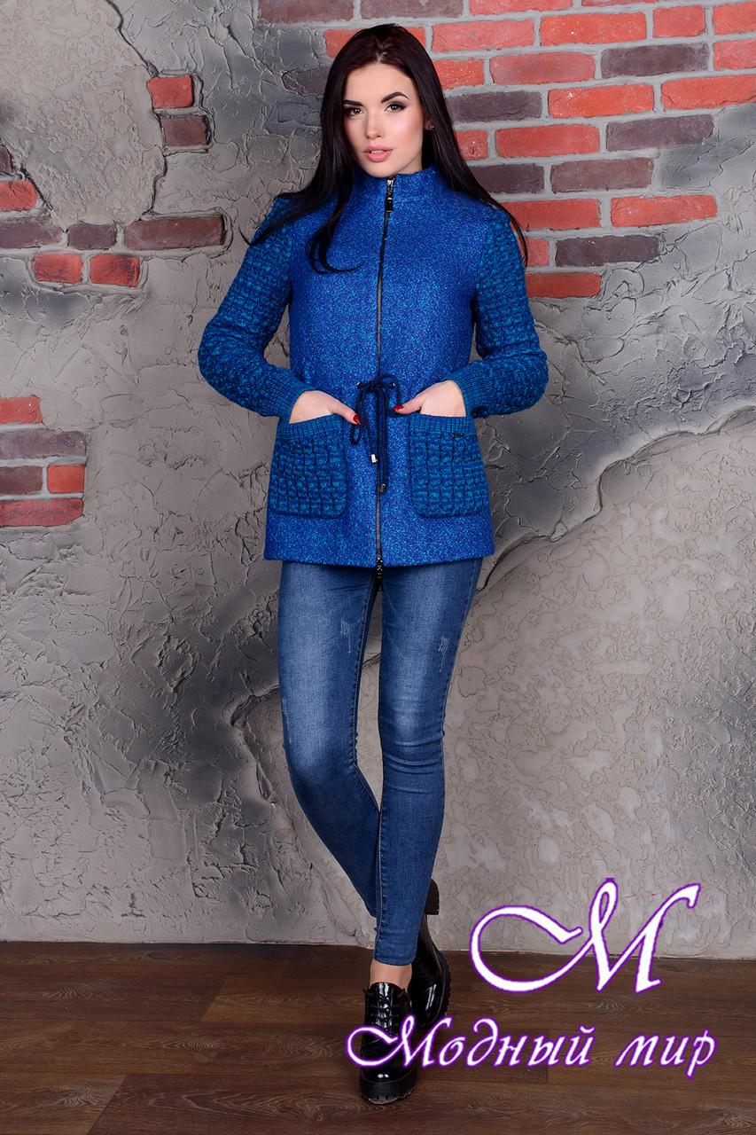 Короткое женское пальто цвета электрик (р. S, M, L) арт. Старк крупное букле 9054