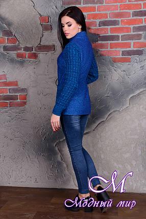 Короткое женское пальто цвета электрик (р. S, M, L) арт. Старк крупное букле 9054, фото 2