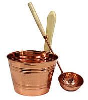 Медный набор для бани, сауны Nikkarien шайка 4л. + черпак