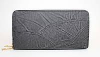 Женский кошелек на две молнии черного цвета