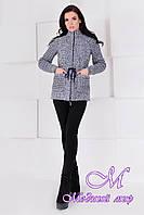 Короткое женское серо-голубое пальто (р. S, M, L) арт. Старк крупное букле 9176