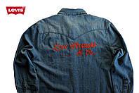 Джинсовая рубашка Levi's® x Asako®  (M) мужская с длинным рукавом/ручная вышивка