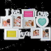 Семейная мультирамка на 8 фото с надписями