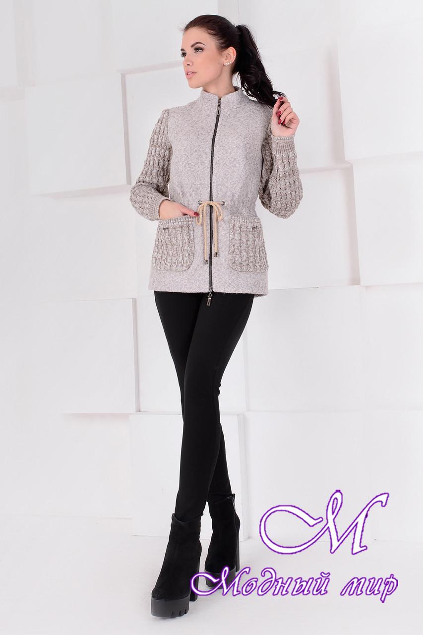Короткое женское бежевое пальто  (р. S, M, L) арт. Старк крупное букле 9177