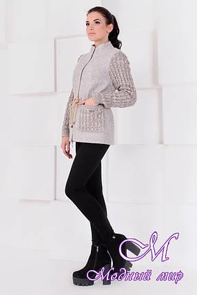 Короткое женское бежевое пальто  (р. S, M, L) арт. Старк крупное букле 9177, фото 2