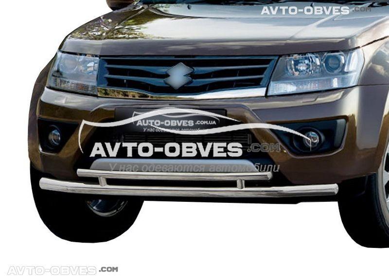 Подвійний захист переднього бампера Suzuki Grand Vitara 2011 - 2019