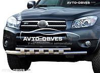Двойной ус с грилем Toyota Rav4 d60*60
